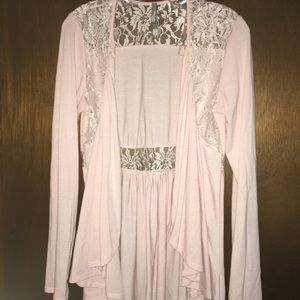 Charlotte Russe blush pink cardigan with lace, M
